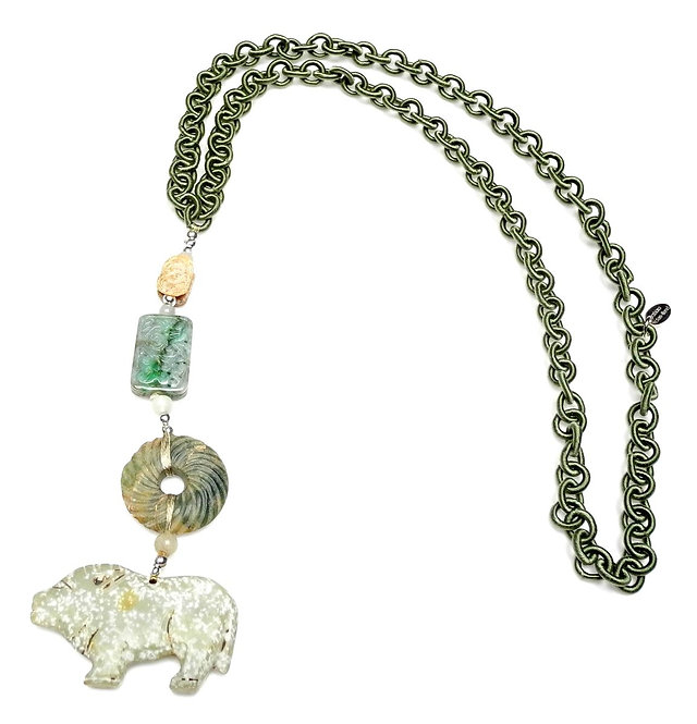 Long Sage Silk Chain with Antique Jade Pig & Multi Jade Beads