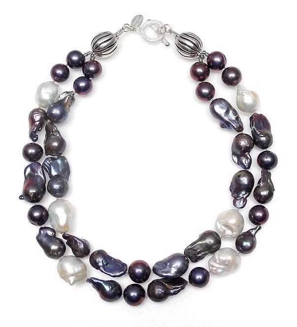 Black & White Baroque Pearl Double Strand Necklace