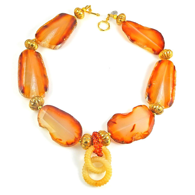 Impact Making Carnelian Slices & Gold with Antique Locked Tan Jade Rings