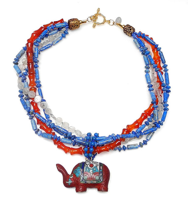 Red Lacquer Elephant Graces Lapis, Coral Multi Strand Necklace