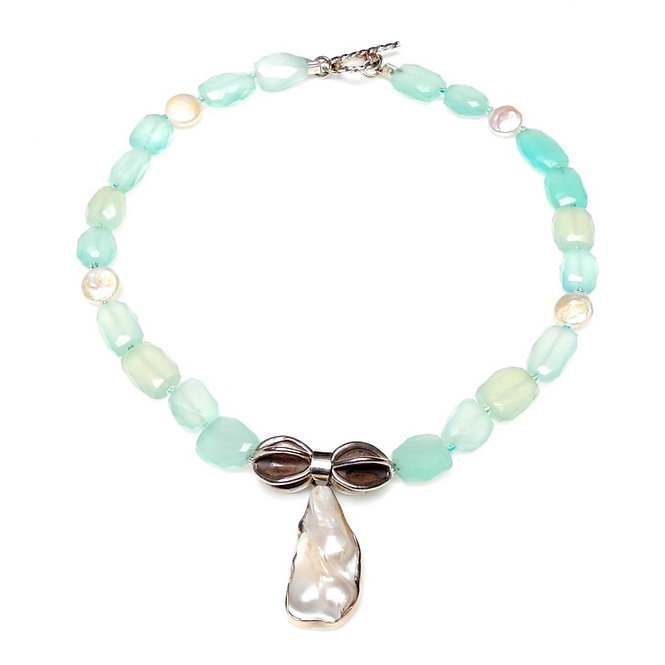 Holiday Inspired Green Chalcedony & Baroque Pearl Pendant Necklace