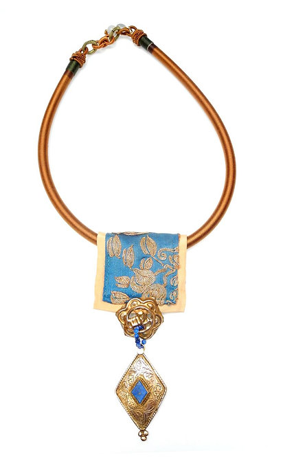 Tan Silk Band with Antique Chinese Embroidery, Lapis & Gold Pendant
