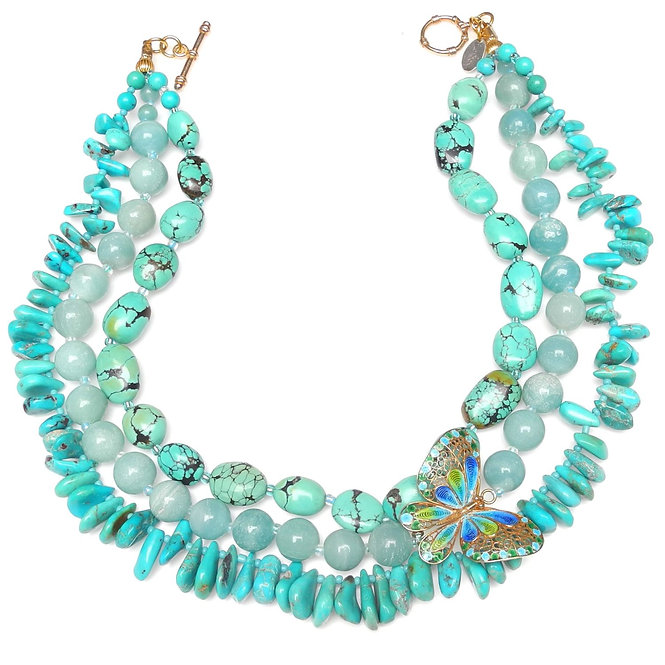 Charming Multi-Strand Turquoise Necklace with Enamel Butterfly