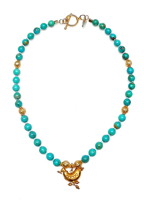 Enchanting Turquoise & Gold Necklace with Antique Gold Bird