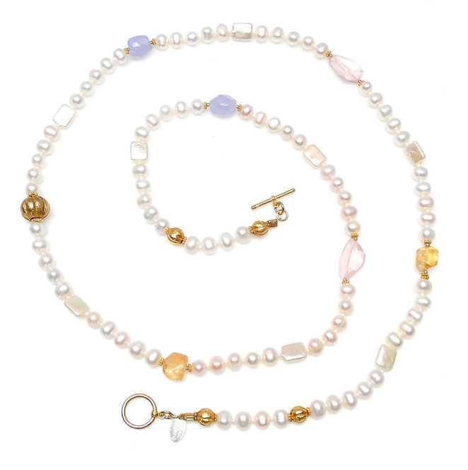 Long Necklace of White Pearls, Citrines, Chalcedony & Gold