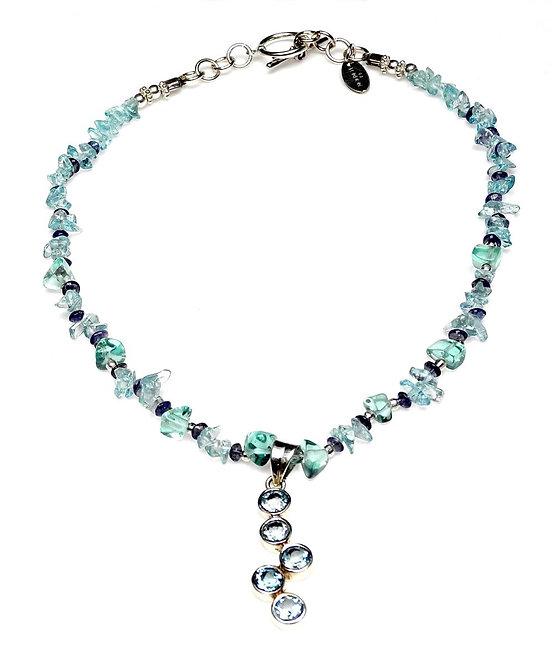 Blue Topaz Raindrop Pendant Graces Topaz & Iolite Necklace