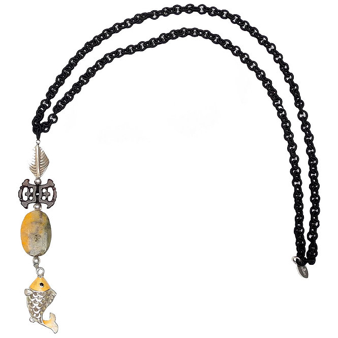 Appealing Silver/Yellow Fish Swims with Jade on Long Black Chain
