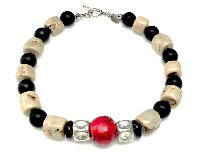 Red & Cream Coral Necklace with Mat Onyx