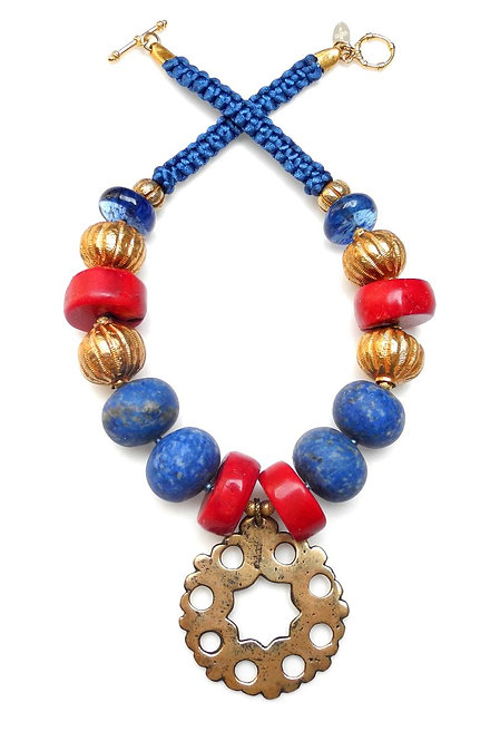 Lovely Lapis, Coral & Gold Necklace with Amazing Tudor Period Bronze Disc