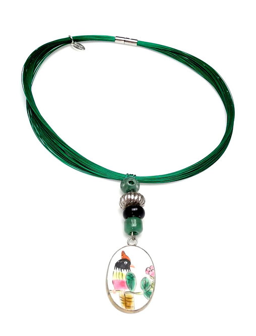 Green Steel Multi-Strand Band Necklace with Antique Porcelain & Jade