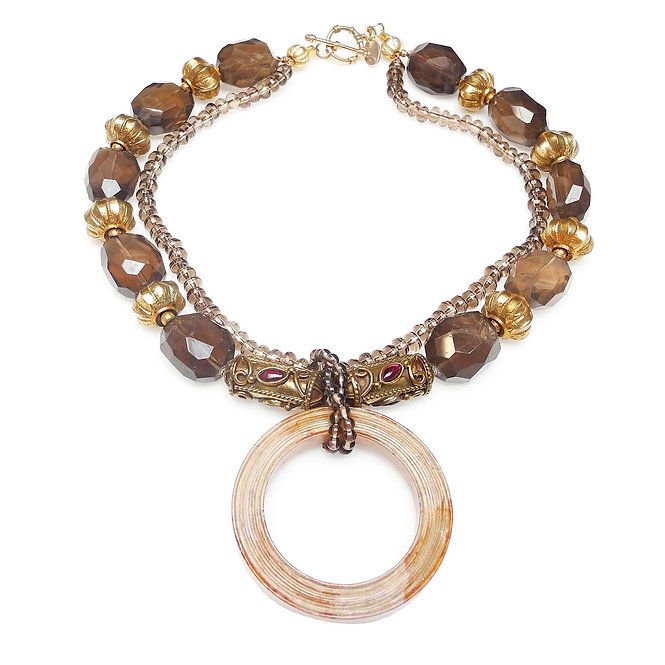 Smoky Quartz & Gold Double Strand Necklace with Antique Tan Jade Disc