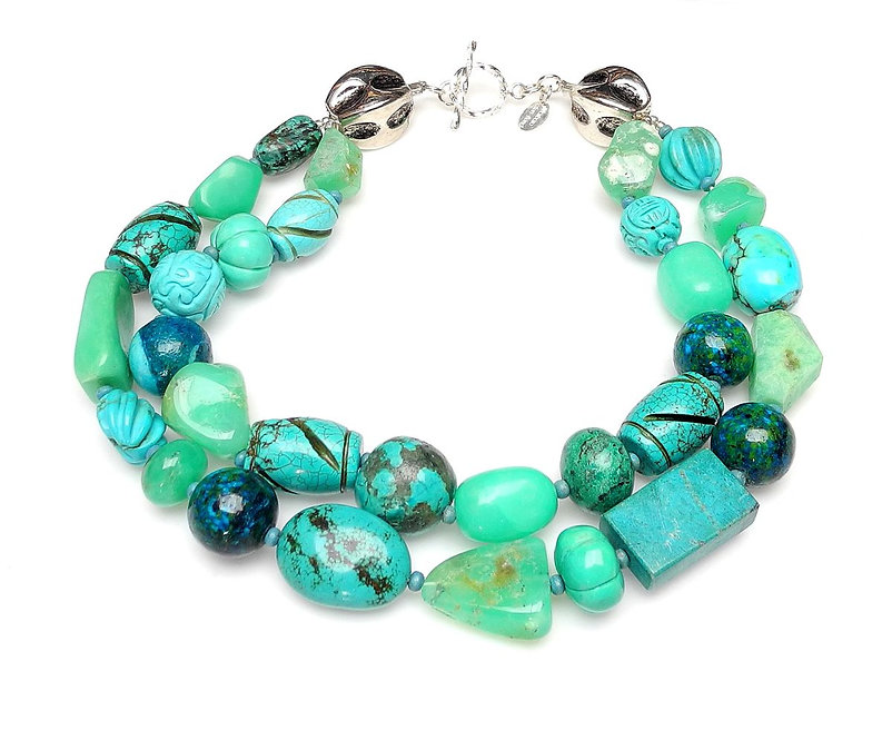 Dynamic Double Strand Necklace of Turquoise & Chrysoprase