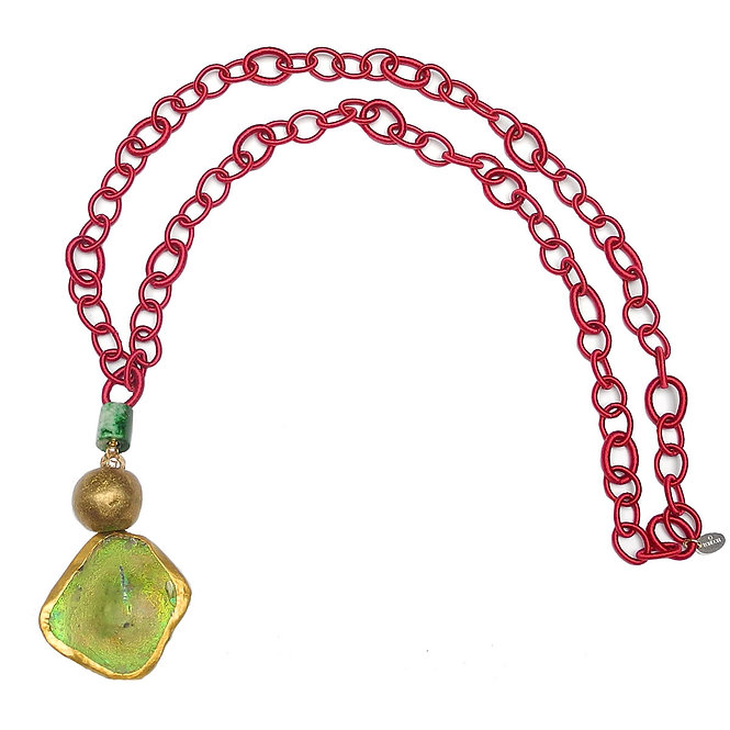 Eye-Catching Long, Burgundy Silk Chain Compliments Ancient Roman Glass & Jade