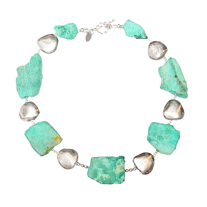 The Warm Cool of Chrysocolla and Silver Necklace