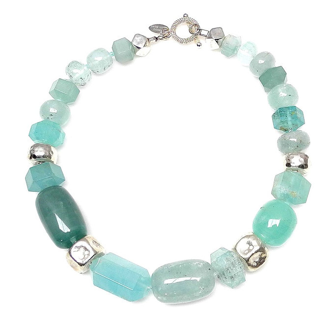 Breathtaking Large Aquamarine & Silver Necklace