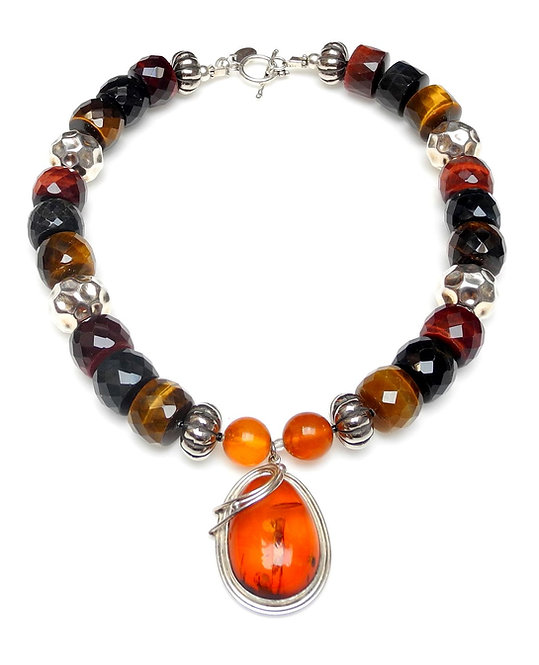 Striking Art Nouveau Amber Pendant on Necklace of Tiger's Eye & Silver