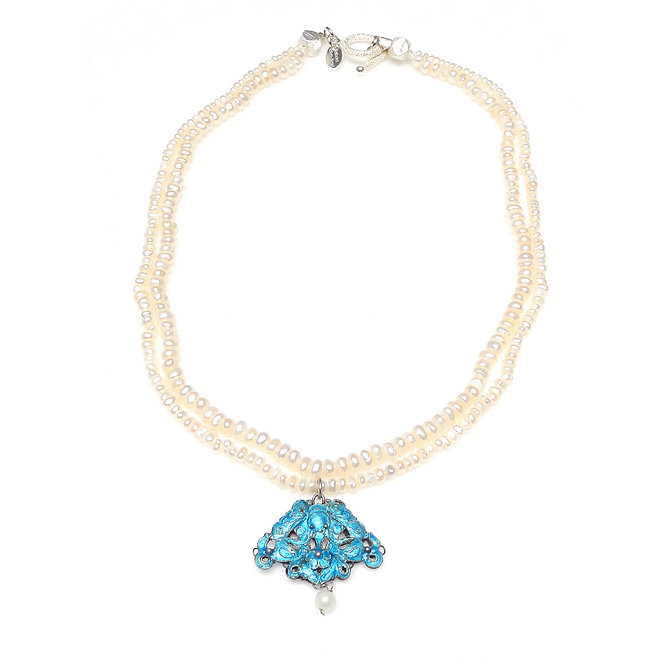 Double Strand Pearl Necklace with Antique Chinese Blue Enamel Pendant