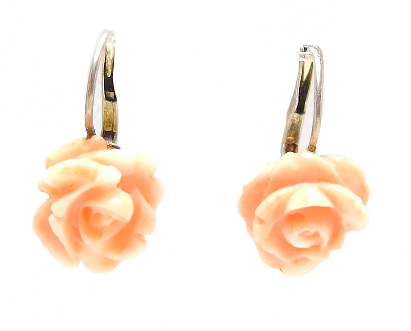Enchanting, Angel Skin Coral, Carved Rose Earrings, in 9ct Gold