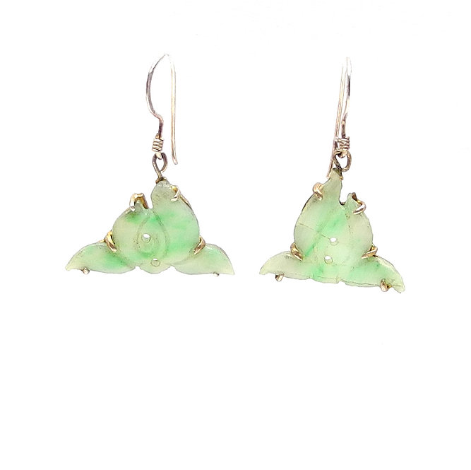 Antique Natural Green Carved Jadeite & 14ct Gold Earrings