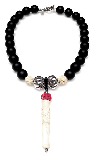 Witty Black & White Necklace with Antique Bone Pendant