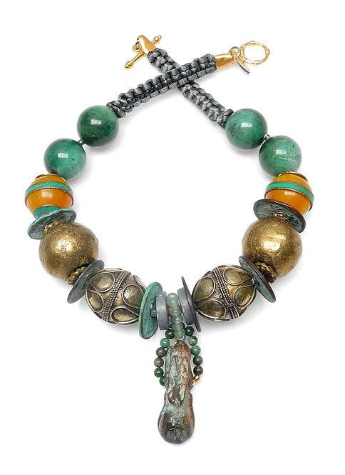 Ancient Roman Bronze Hare with Jade, Amber & Brass Necklace