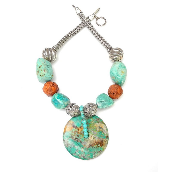Amazing Antique Turquoise Disc Necklace with Silver & Carved Wood Dragons