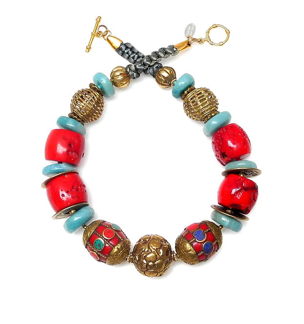 Statement Necklace of Tibetan Brass, Amazonite, Coral & Coins