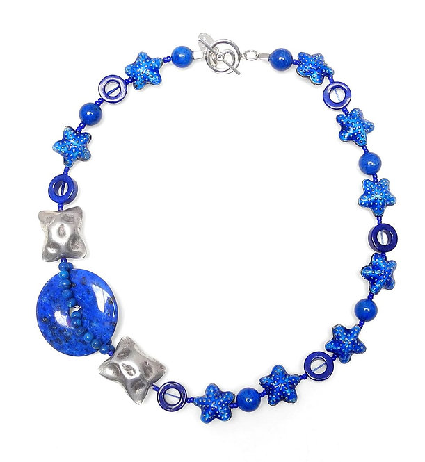 Brilliant Lapis Necklace with Silver & Blue Enamel Starfish