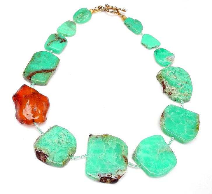 Grass Green Slabs of Chrysoprase & Amber Necklace