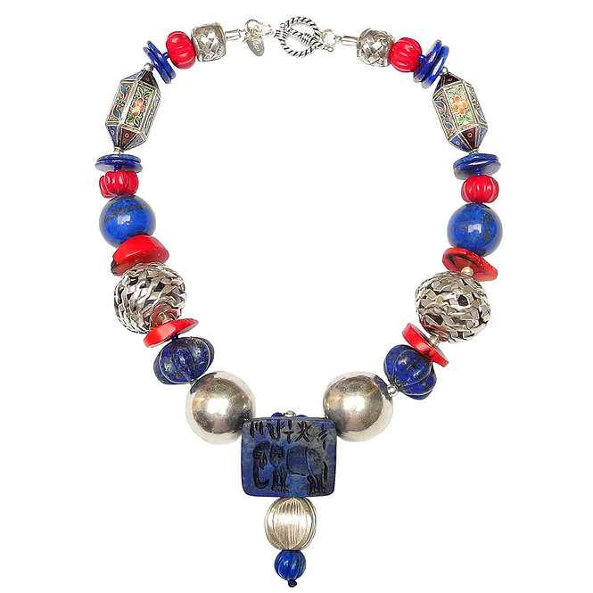 Elephant in Lapis Makes a Bold Statement Necklace