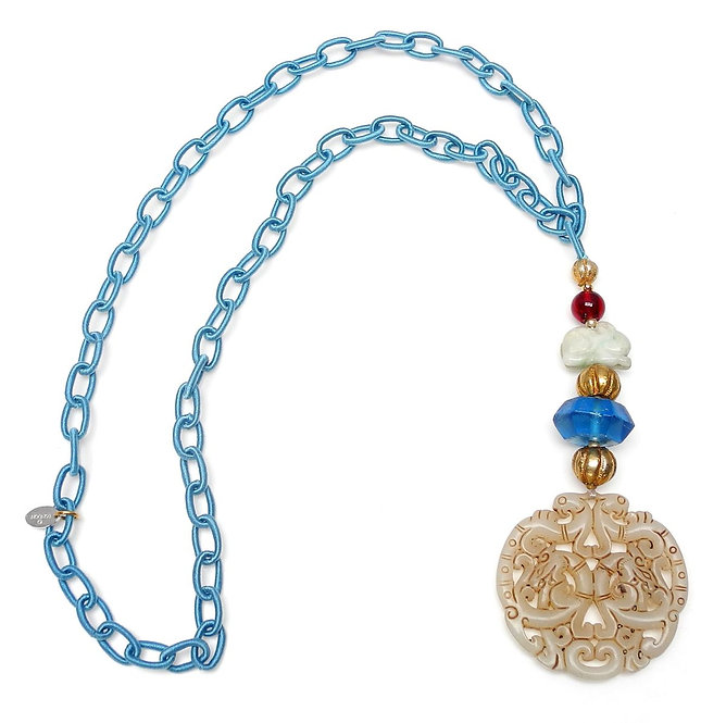 Long Blue Silk Chain with Jade Dragon Pendant, Gold & Glass