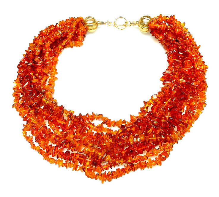 Amber Multi-Strand, Lightweight Necklace