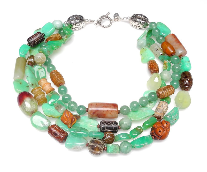A Wow, Double Strand Necklace of Green Jades, Antique Jades & Chrysoprase