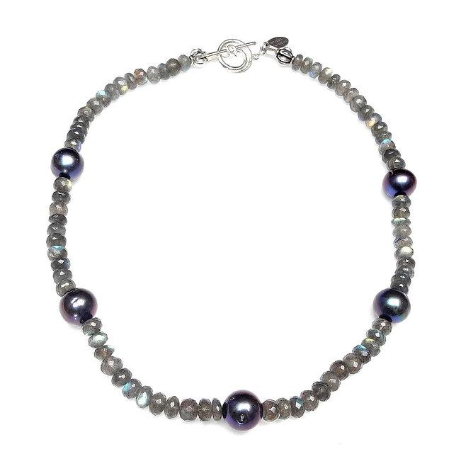 Cool Grey Pearls & Labradorite Necklace
