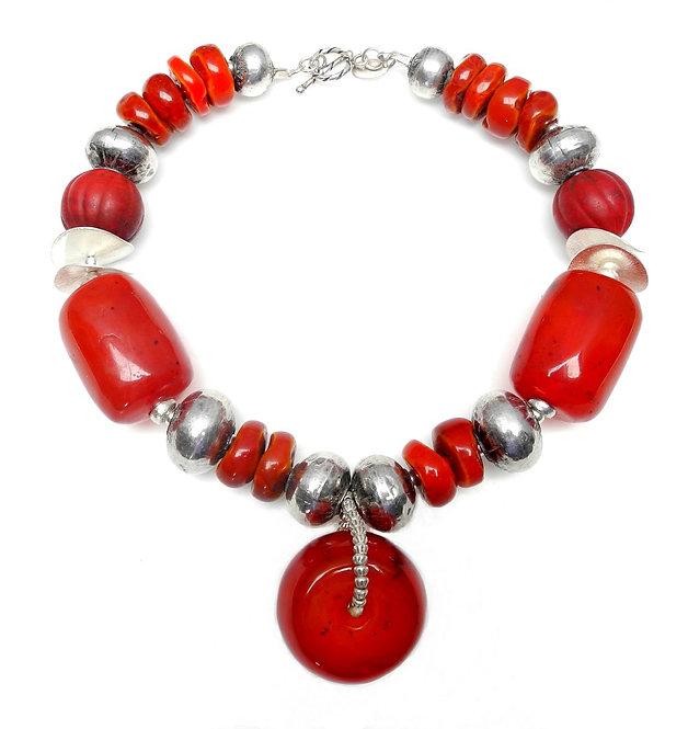 Antique Tibetan Red Resin Pendant with Large Resin Beads & Silver Necklace