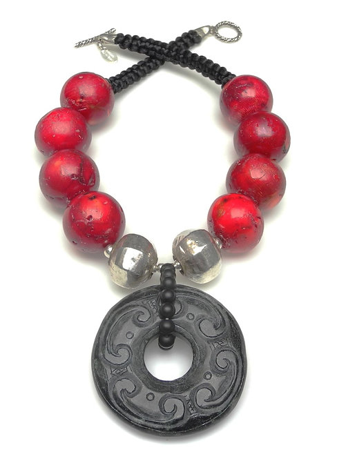 Bold Necklace of Large Red Coral, Silver & Black Jade Disc
