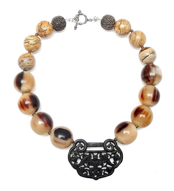 Dashing Black Jade Pendant with Large Tan & Black Horn Beads