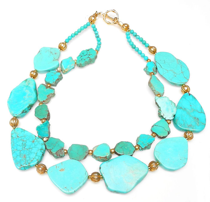 Graceful, Double Strand Necklace of Turquoise Slices & Gold