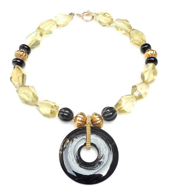 Black Onyx Disc on Lemon Quartz & Gold Necklace