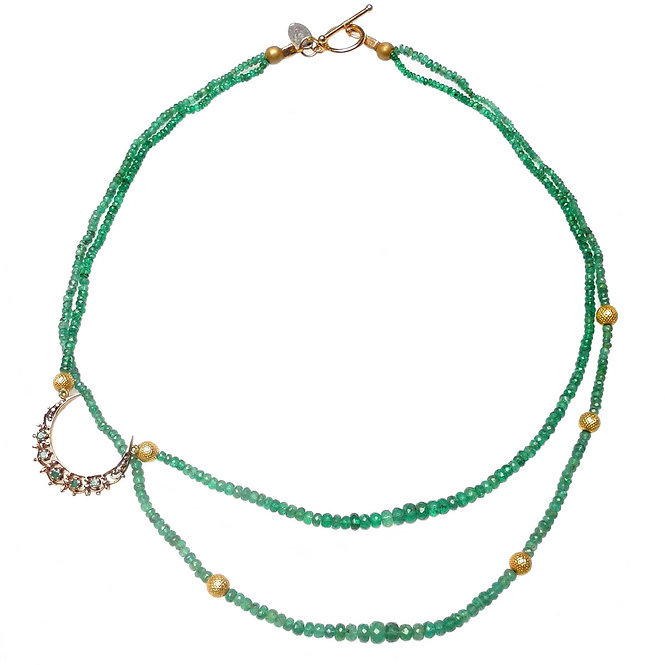 Emeralds & Gold Multi-Strand Necklace & Antique Gold/Emerald Moon