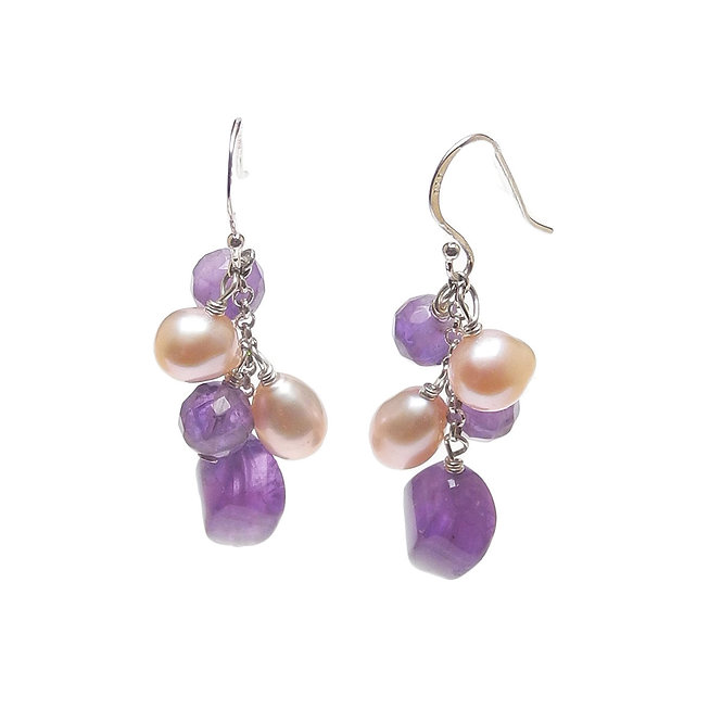 Romantic Natural Amethyst and Cultured Pink Pearl Dangle Earrings