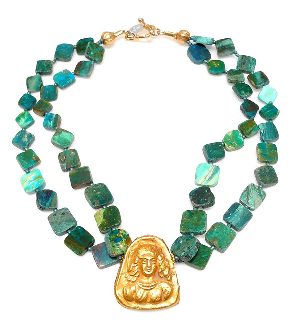 Peruvian Opal Double Strand Necklace with Antique Afghan Gold Pendant