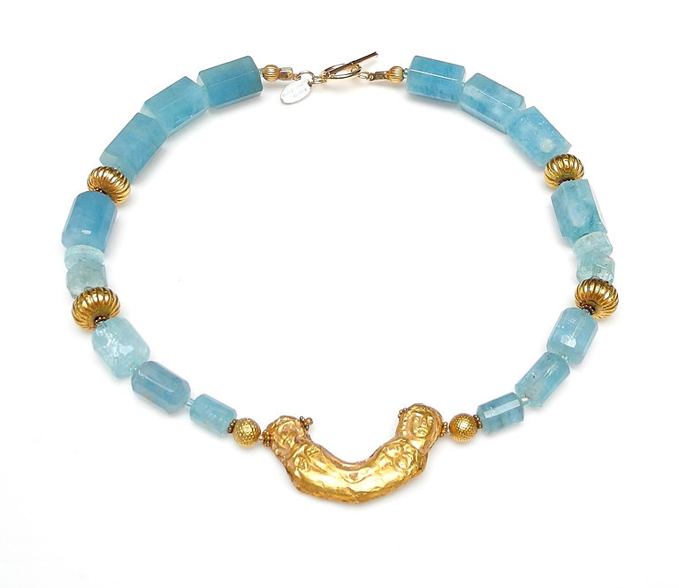 Head Turning Aquamarine Necklace & Antique Gold Afghan Crescent