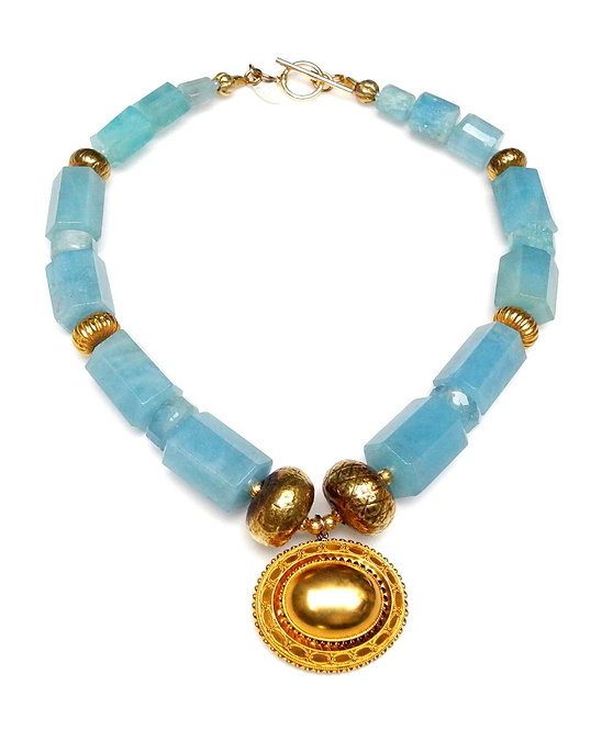 Show-Stopper Aquamarine & Gold Necklace with Antique Gold Pendant