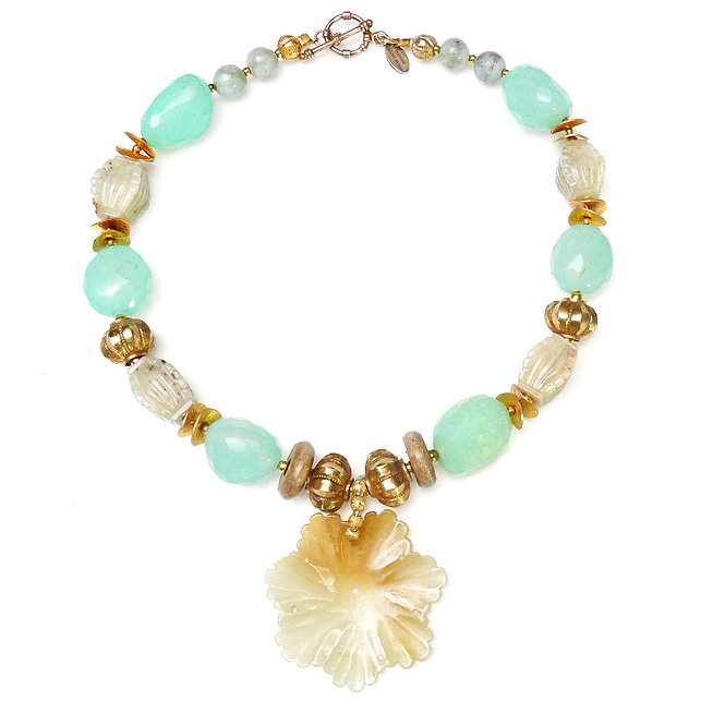 Rare Antique Jade Flower on Chalcedony, Jade & Gold Necklace