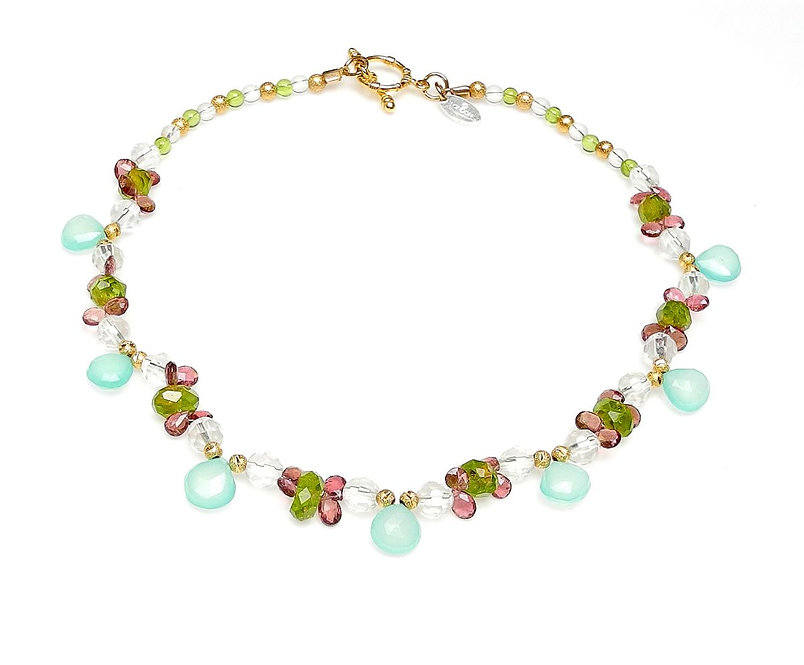 Charming, Delicate, Chalcedony, Tourmaline & Peridot Necklace
