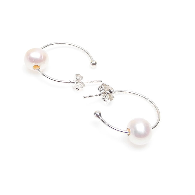 Sterling Silver Hoops with Cultured White Pearls