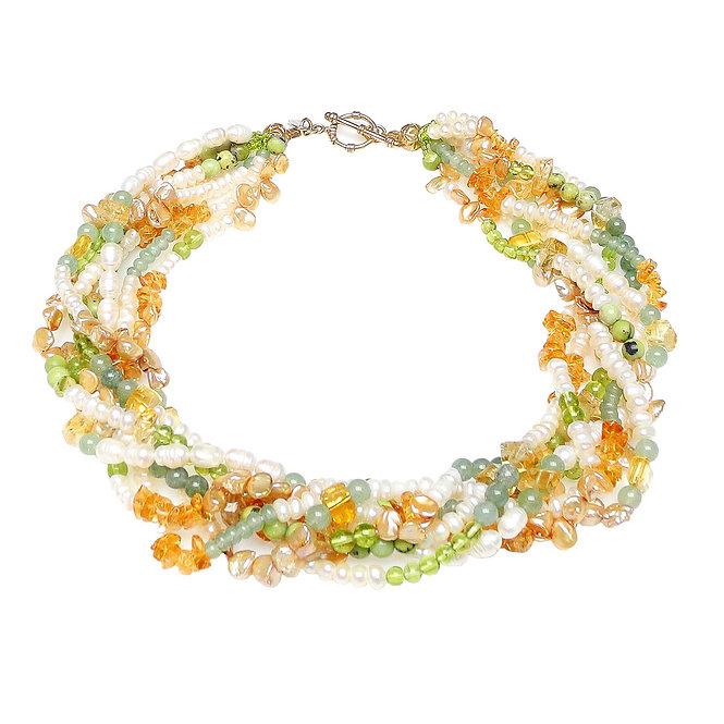 Unforgettable Multi-Strand Necklace of Citrine, Peridot & Pearl