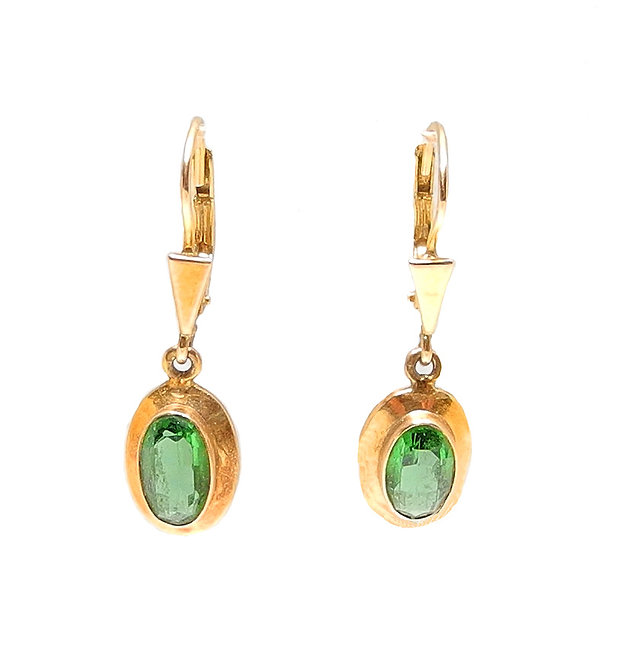 Antique Victorian Gold Peridot Drop Earrings