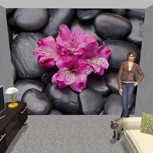 3D Wand Orchidee und Steine (Belag)